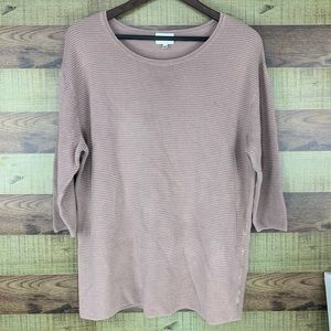 Wilfred by Aritzia blush/pink rubbed knit 3/4 top